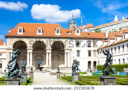Valdstejnska Garden and Prague Castle, Prague, Czech Republic - stock photo