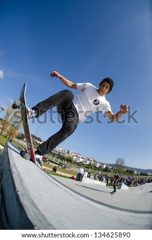 VALE DE CAMBRA, PORTUGAL - APRIL 06: Pedro Machado at Best Trick Skate Contest by Kate on april 06, 2013 in Vale de Cambra, Portugal.