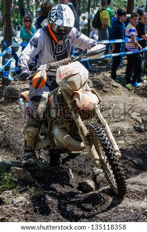 VALE DE CAMBRA, PORTUGAL - APRIL 14: Tiago Cardoso at the 11th National Enduro Championship on april 14, 2013 in Vale de Cambra, Portugal.