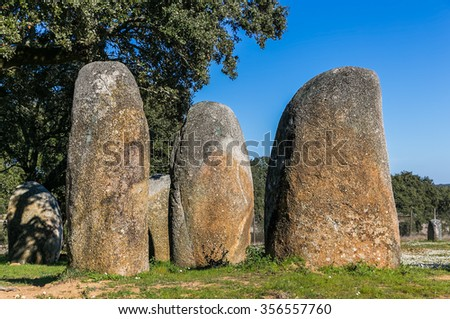 Vale Maria do Meio. Megalithic stone circle located near Evora in Portugal. Chronology: IV-III millennium.
