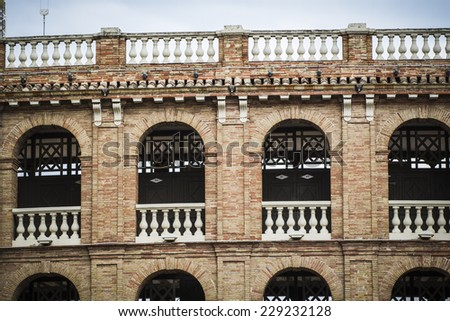 Valencia bullring, Spanish city of Valencia, Mediterranean architecture - stock photo