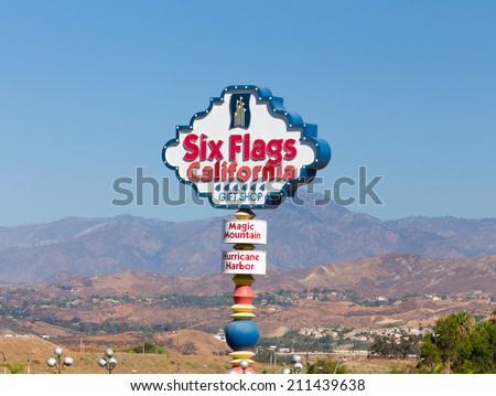 VALENCIA, CA/USA - AUGUST 17, 2014. Six Flags Magic Mountain Entrance Sign. Six Flags Magic Mountain is a theme park located north of Los Angeles, California. - stock photo