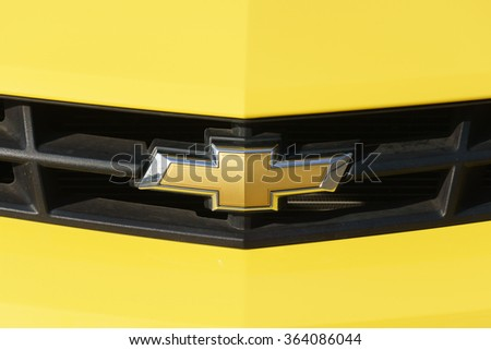 VALENCIA, CA/USA - JANUARY 13, 2016: Chevrolet automobile grille and logo. Chevrolet is an automobile manufactuer and part of General Motors. - stock photo