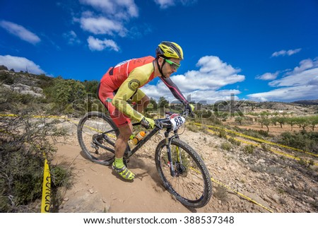 VALENCIA - MARCH 6: Jose Luis Ruiz Dorado rider participates in international Chelva MTB-XCO competition in Chelva on march 6, 2016 in Valencia, Spain