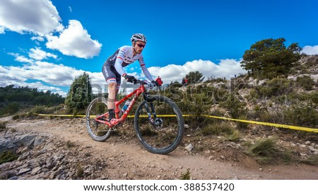 VALENCIA - MARCH 6: Sergio Mantecon rider participates in international Chelva MTB-XCO competition in Chelva on march 6, 2016 in Valencia, Spain