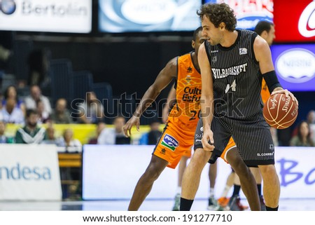VALENCIA - MAY, 3: Grimau with ball during a Spanish league match between Valencia Basket Club and Bilbao at the Fonteta Stadium on May 3, 2014 in Valencia, Spain