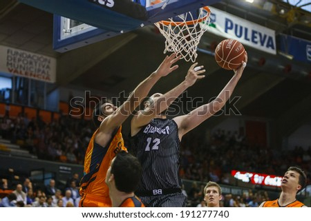 VALENCIA - MAY, 3: Inside shot of Grabriel #12 during a Spanish league match between Valencia Basket Club and Bilbao at the Fonteta Stadium on May 3, 2014 in Valencia, Spain
