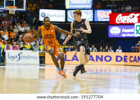 VALENCIA - MAY, 3: Lafayette drives the ball during a Spanish league match between Valencia Basket Club and Bilbao at the Fonteta Stadium on May 3, 2014 in Valencia, Spain