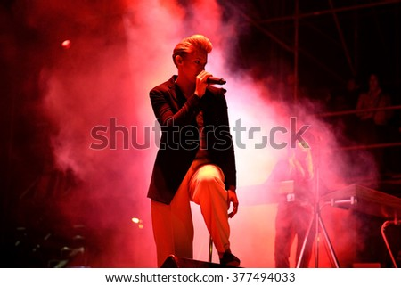 VALENCIA, SPAIN - APR 5: Elly Jackson, singer of La Roux (band), performs at MBC Fest on April 5, 2015 in Valencia, Spain.