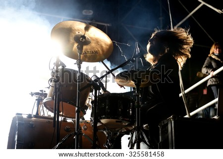 VALENCIA, SPAIN - APR 4: The drummer of The Royal Concept (band) performs at MBC Fest on April 4, 2015 in Valencia, Spain.