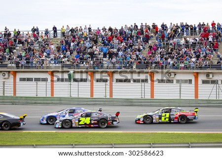 VALENCIA, SPAIN - APRIL 25: Some cars compete at Race 1 Elite 1 of Nascar Whelen Euro Series in Ricardo Tormo circuit, on April 25, 2015, in Cheste, Valencia, Spain. The winner was Eddie Cheever.