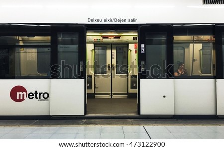 August 11 2016 Metro train with doors open. & VALENCIA SPAIN August 11 2016 Metro Stock Photo (Royalty Free ...