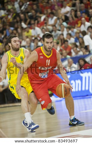 VALENCIA, SPAIN - AUGUST 26 - San Emeterio in the warm-up match for the European Basketball 2011 between Spain and Australia - Fuente San Luis Stadium - Spain on August 26, 2011