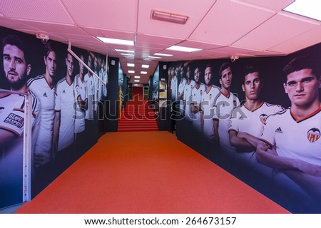 VALENCIA,SPAIN-CIRCA MARCH 2015: Stadium tunnel, leading the players on to the playground