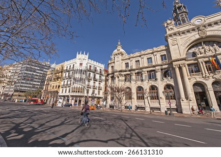 VALENCIA,SPAIN-CIRCA MARCH 2015: View at Plaza de Ayuntamiento