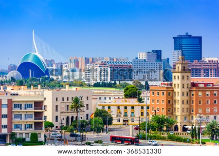 Valencia, Spain city skyline. - stock photo