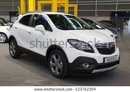 VALENCIA, SPAIN - DECEMBER 7 - A 2012 Opel Mokka Compact SUV at the Valencia Car Show on December 7, 2012 in Valencia, Spain.