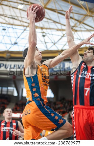 VALENCIA, SPAIN - DECEMBER 7:  Lucic with ball during Endesa Spanish League game between Valencia Basket Club and Laboral Kutxa Baskonia at Fonteta Stadium on December 7, 2014 in Valencia, Spain