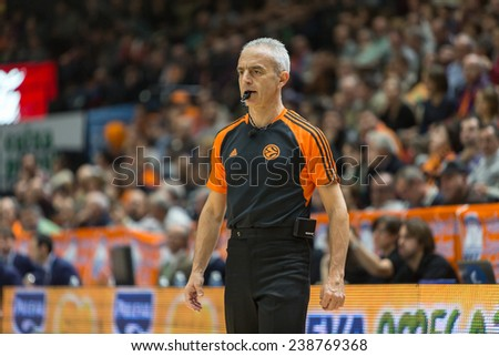 VALENCIA, SPAIN - DECEMBER 5: Referee during Euroleague match between Valencia Basket Club and Crvena Zvezda Telekom Belgrade at Fonteta Stadium on Dicember 5, 2014 in Valencia, Spain - stock photo