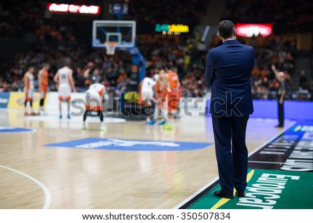 VALENCIA, SPAIN - DECEMBER 12th: Cuspinera during Spanish League between Valencia Basket Club and Montakit Fuenlabrada at Fonteta Stadium on December 12, 2015 in Valencia, Spain - stock photo