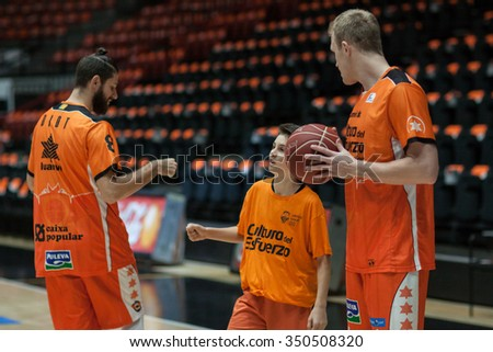 VALENCIA, SPAIN - DECEMBER 12th: Diot (L) Sikma (R) during Spanish League between Valencia Basket Club and Montakit Fuenlabrada at Fonteta Stadium on December 12, 2015 in Valencia, Spain - stock photo