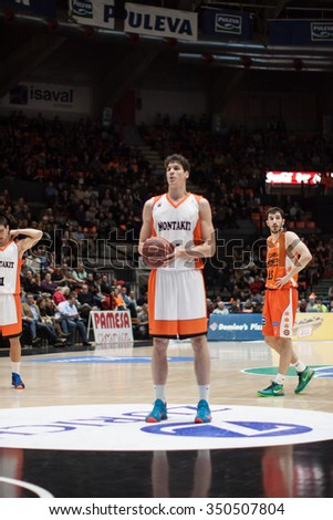 VALENCIA, SPAIN - DECEMBER 12th: Gonzalez during Spanish League between Valencia Basket Club and Montakit Fuenlabrada at Fonteta Stadium on December 12, 2015 in Valencia, Spain - stock photo