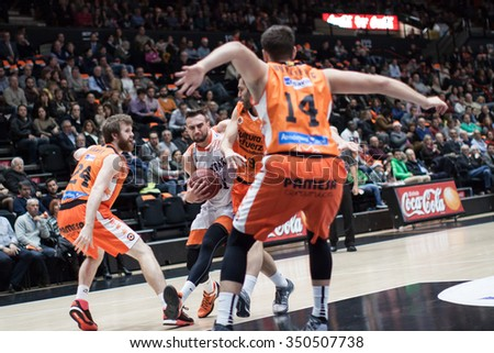 VALENCIA, SPAIN - DECEMBER 12th: Paunic with ball during Spanish League between Valencia Basket Club and Montakit Fuenlabrada at Fonteta Stadium on December 12, 2015 in Valencia, Spain - stock photo