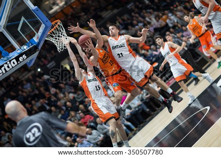VALENCIA, SPAIN - DECEMBER 12th: San Emeterio with ball during Spanish League between Valencia Basket Club and Montakit Fuenlabrada at Fonteta Stadium on December 12, 2015 in Valencia, Spain - stock photo