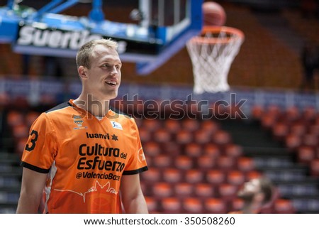 VALENCIA, SPAIN - DECEMBER 12th: Sikma during Spanish League between Valencia Basket Club and Montakit Fuenlabrada at Fonteta Stadium on December 12, 2015 in Valencia, Spain - stock photo