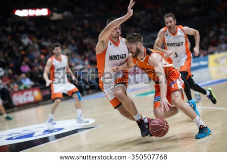 VALENCIA, SPAIN - DECEMBER 12th: Stefansson with ball during Spanish League between Valencia Basket Club and Montakit Fuenlabrada at Fonteta Stadium on December 12, 2015 in Valencia, Spain - stock photo