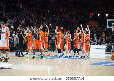 VALENCIA, SPAIN - DECEMBER 12th: Valencia players during Spanish League between Valencia Basket Club and Montakit Fuenlabrada at Fonteta Stadium on December 12, 2015 in Valencia, Spain - stock photo