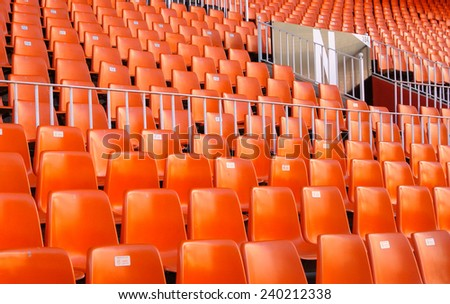VALENCIA, SPAIN - DECEMBER 14: View of the seats of the Mestalla Stadium. This football stadium has a capacity for 55,000 spectators. December 14, 2014 in Valencia, Spain  - stock photo
