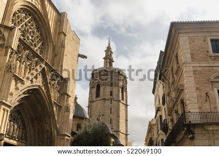 Valencia (Spain), exterior of the medieval cathedral, in gothic style
