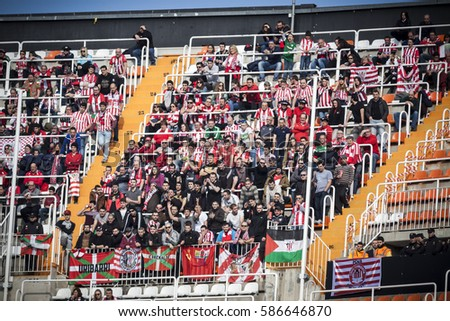 VALENCIA, SPAIN - FEBRUARY 19: Bilbao Supporters during La Liga soccer match between Valencia CF and CD Athletic Club Bilbao at Mestalla Stadium on February 19, 2017 in Valencia, Spain