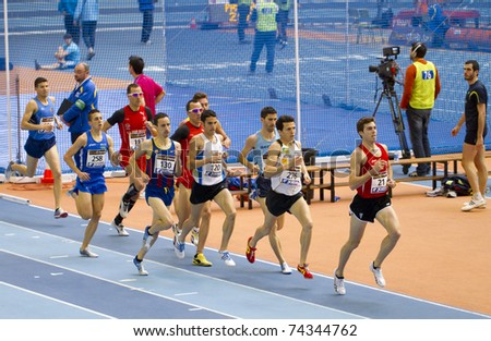 "VALENCIA, SPAIN - FEBRUARY 20: Competitors of 1500m Men with ""Juan Carlos Higuero"" at second place of the Spanish indoor national championships at Valencia on February 20, 2011 in Valencia, Spain"