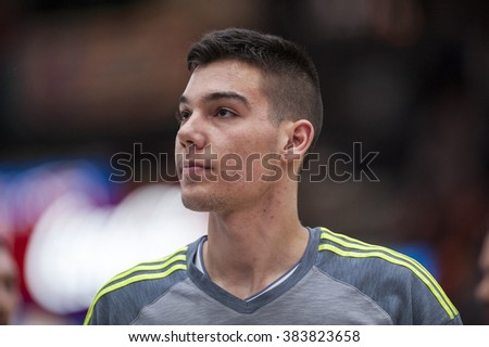 VALENCIA, SPAIN - FEBRUARY 28: Jaycee Carroll during ENDESA LEAGUE match between Valencia Basket Club and Real Madrid at Fonteta Stadium on   February, 2016 in Valencia, Spain
