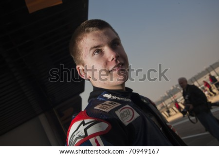 VALENCIA, SPAIN - FEBRUARY 10: - Moto2 and 125cc Test - Harry Stafford - on February 10, 2011 in Cheste, Valencia, Spain
