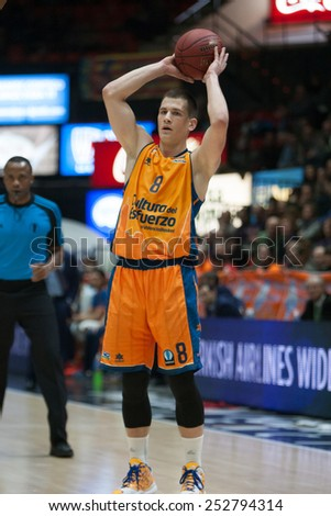 VALENCIA, SPAIN - FEBRUARY 11: Nedovic during Eurocup match between Valencia Basket Club and Lokomotiv Kuban Krasnodar at Fonteta Stadium on February 11, 2014 in Valencia, Spain - stock photo