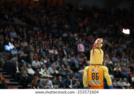 VALENCIA, SPAIN - FEBRUARY 15: Pam is mascot of Valencia during Spanish League match between Valencia Basket Club and Real Madrid at Fonteta Stadium on February 15, 2015 in Valencia, Spain - stock photo