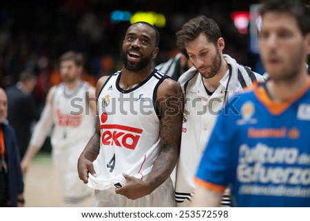 VALENCIA, SPAIN - FEBRUARY 15: Rivers 4, Rudy (R) during Spanish League match between Valencia Basket Club and Real Madrid at Fonteta Stadium on February 15, 2015 in Valencia, Spain - stock photo