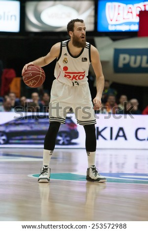 VALENCIA, SPAIN - FEBRUARY 15: Rodriguez with ball during Spanish League match between Valencia Basket Club and Real Madrid at Fonteta Stadium on February 15, 2015 in Valencia, Spain - stock photo