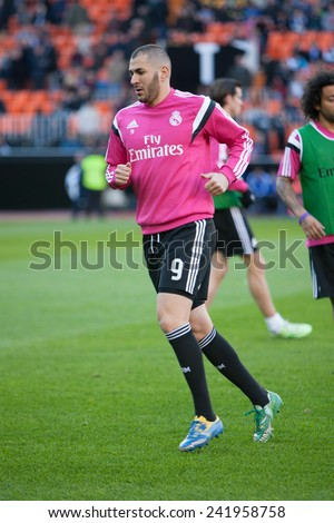 VALENCIA, SPAIN - JANUARY 4: Benzema during Spanish League match between Valencia CF and Real Madrid at Mestalla Stadium on January 4, 2015 in Valencia, Spain - stock photo
