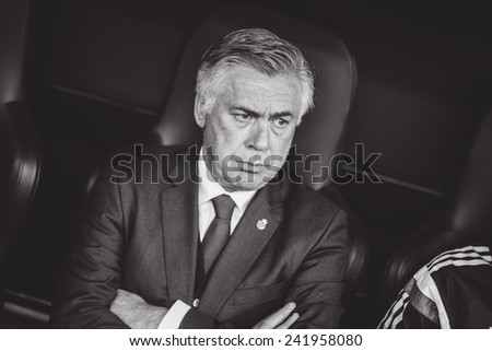 VALENCIA, SPAIN - JANUARY 4: Carlo Ancelotti during Spanish League match between Valencia CF and Real Madrid at Mestalla Stadium on January 4, 2015 in Valencia, Spain - stock photo
