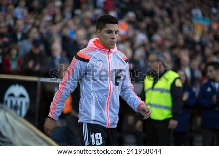 VALENCIA, SPAIN - JANUARY 4: Enzo Perez during Spanish League match between Valencia CF and Real Madrid at Mestalla Stadium on January 4, 2015 in Valencia, Spain - stock photo