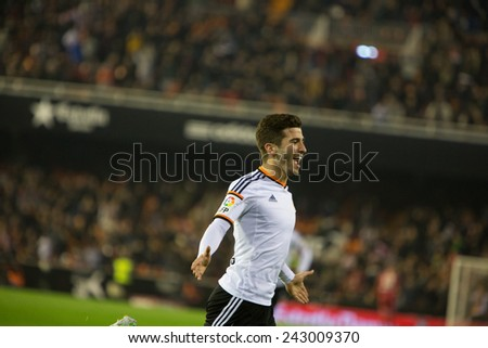 VALENCIA, SPAIN - JANUARY 4: Gaya during Spanish King Cup match between Valencia CF and RCD Espanyol at Mestalla Stadium on January 4, 2015 in Valencia, Spain - stock photo