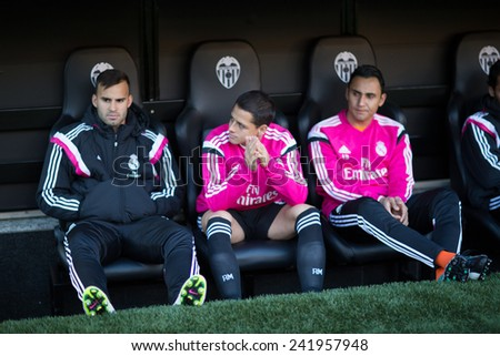 VALENCIA, SPAIN - JANUARY 4: James (Center) during Spanish League match between Valencia CF and Real Madrid at Mestalla Stadium on January 4, 2015 in Valencia, Spain - stock photo