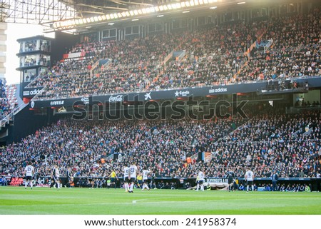 VALENCIA, SPAIN - JANUARY 4: Mestalla Stadium during Spanish League match between Valencia CF and Real Madrid at Mestalla Stadium on January 4, 2015 in Valencia, Spain - stock photo