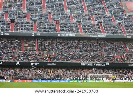 VALENCIA, SPAIN - JANUARY 4: Mestalla Stadium during Spanish League match between Valencia CF and Real Madrid at Mestalla Stadium on January 4, 2015 in Valencia, Spain - stock photo