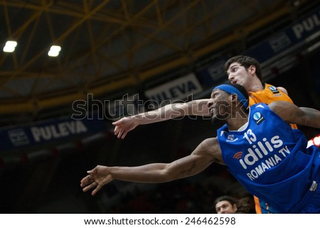 VALENCIA, SPAIN - JANUARY 21: Mohammed 13 and Vives during Eurocup match between Valencia Basket Club and CSU Asesoft at Fonteta Stadium on January 21, 2015 in Valencia, Spain