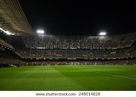 VALENCIA, SPAIN - JANUARY 25: Panorama of the stadium during Spanish League match between Valencia CF and Sevilla FC at Mestalla Stadium on January 25, 2015 in Valencia, Spain - stock photo